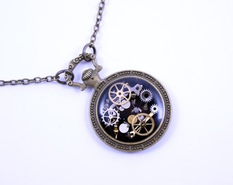 As Seen at GBK's 2016 MTV Movie Awards Gift Lounge Steampunk Necklace Brass Pendant made with real recycled watch parts One of a kind Gift