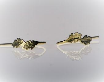Gold Dangle Earrings, Leaf Earrings, Small Hoop Earrings, Gold leaf Earrings, 14K Open Hoop Earrings, Elegant Earrings, Wedding Earrings