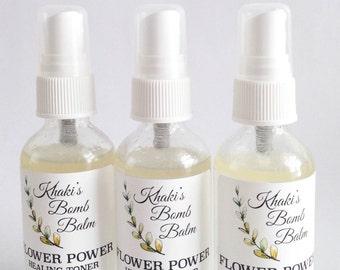 Flower Power Healing Toner/Rose Toner/Tea Tree Toner/Facial Toner/Rose Oil/Lavender Facial Mist/Organic Toner/Organic Rose Toner