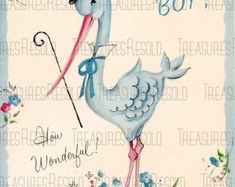 Congratulations New Baby Boy Stork Card #447 Digital Download