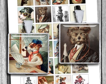 "Victorian Dogs in Clothes Squares  1x1"" 0.75x0.83"" 1.5x1.5"" for Pendants Scrabble tile images Digital Collage Sheet - Instant Download"
