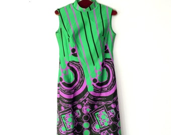 Vintage dress / 1970s PSYCHEDELIC dress / sleeveless AVANTGARDE dress