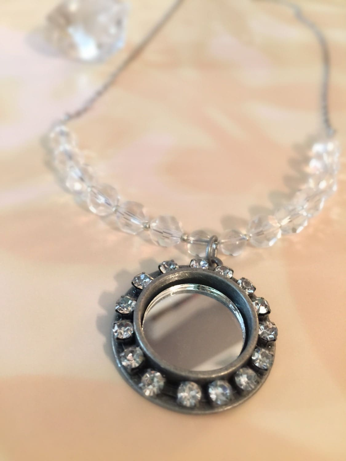 Mirror Protection Necklace With Quartz And Glass Crystal