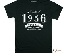 Limited 1956 Edition crew neck t shirt 60th birthday gift man son father grandfather brother uncle size S-2XL authentic body original parts