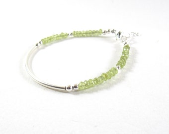August Birthday . Peridot. Silver 925