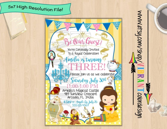 Beauty and the beast invitation belle birthday invitation disney il570xn filmwisefo