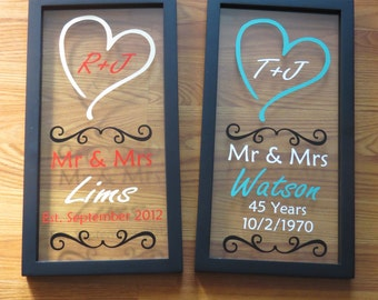 Wedding Gift, Float Frame, Custom Frame, Custom Wedding Sign, Anniversary Gift, Mr and Mrs Gift, Bridal Shower Gift, Gift for Her, For Him