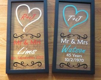 Custom Float Frame, Wedding Gift, Anniversary Gift, Mr & Mrs, Love, Heart, Bride, Groom, Shower Gift, Wedding Date, Gift for Her, For Him