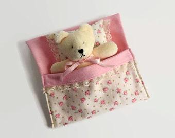 Molly- Plush Teddy Bear with sleeping bag, stuffed teddy bear in a bed, bedtime teddy bear, stuffed animal, stuffed bear doll, plushie