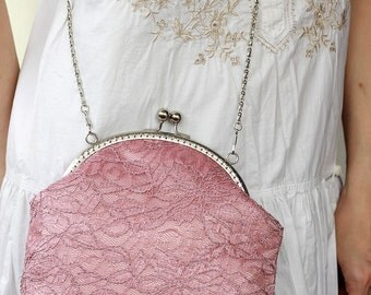 Lace Bridesmaid Clutch Dusty Rose Pink, Wedding Bridal Clutch, Wedding Bridesmaid Lace Handbag Clutch Wedding Bridesmaid Gift Clutch Evening
