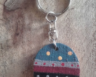 Keyrings, keychains, key holder, hand painted wooden, key fob, gifts, wooden shape, free worldwide shipping