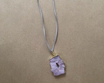 Leather with Purple Druzy Pendant