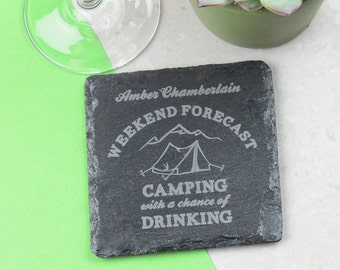 Camping Personalised Coaster