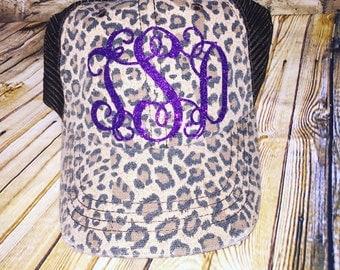 Monogram Leopard Hat