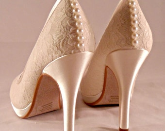 Ivory Lace And Pearl Platform Heels Lace Bridal Shoes Pearl Seams Bridal Shoes Closed Toe Lace Pumps Ivory Lace Heels