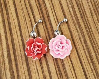 14g Red or Pink Carnation Navel Ring!