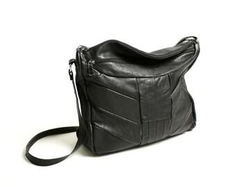 Vintage 70's Black Genuine Leather Patchwork Hobo Bag Crossbody, Black Shoulder Bag