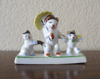 Vintage Japanese Three Little Kittens, porcelain figurine-free shipping USA