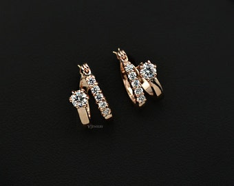 Hoop Cubic Zirconia Earrings - Rose Gold Earrings - Double Earrings - Dainty  Earrings - Circle Earrings - CZ Earrings - Huggie Hoop-AJE0225