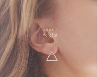 Silver Triangle Cut Out Stud Earrings