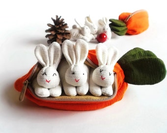 BUUNNY, Bunny in carrot purse, Bunny plush, Suffed bunny, Toy, Home decor, Gift