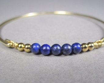 Gold Lapis Gemstone Bracelet, Lapis Lazuli Jewelry, Bangle Bracelet, 14k Gold Bracelet, Blue Lapis Jewelry, Bridesmaid Gift, Gifts For Her