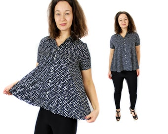 Polka dot shirt,Vintage polka dot blouse, 80s dot shirt, White dots T shirt, Wide shirt, Black shirt, Short sleeves top / Small Medium