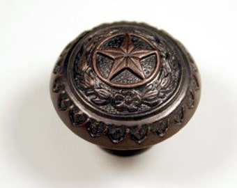 Western Style Texas State Seal Knob - Oil Rubbed Bronze