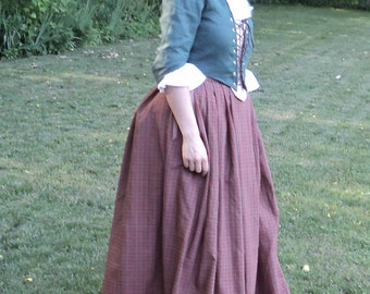 "Sz. 8 (37"" bust 29"" waist) Colonial/late 1700's 3-pc. dress set: Linen bustier w/ laced front,stomacher &  Cotton plaid skirt-READY-TO-SHIP"