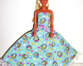 Fashion Doll Clothes-Glittery Easter Basket Print Strapless Dress