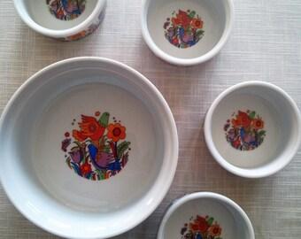 Royal Crown (Japan) Porcelain Ovenware Paradise Souffle & 4 Ramekin Bowls