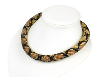 Brown Snake Necklace Bead Crochet Necklace Snake leather necklace Python leather necklace Beaded Jewelry modern necklace Beadwork Jewelry