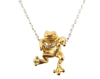 Realistic Frog Pendant Dangling on a Chain Necklace in Gold on Silver | Handmade Animal Jewelry