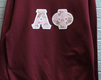 Maroon Sweatshirt With Alpha Phi University Shop Print on White