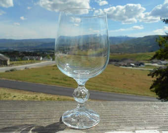 "Bohemia Crystal 'Claudia' Goblet, 2-3/4"" Diameter x 6-1/2"" Tall, haziness on bowl"