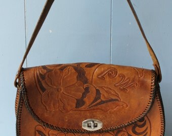 RESERVED for Morgan////Vintage Hand Tooled Leather Purse/60s/70s/Bag/Boho/Hippie/