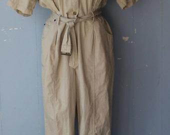 Vintage 70s/80s Jumpsuit/Pantsuit/One Piece/Khaki/Neutral/Utilitarian/