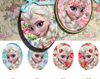 Elsa - 30x40 mm oval Images Digital Collage Sheet Printable download for bezel settings cabochons glass and resin pendants