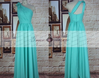 Turquoise Long Bridesmaid Dress, Unique One Shoulder Chiffon Bridesmaid Dress, Mint Bridesmaid Dress, Green Prom Dress, Formal Evening Dress