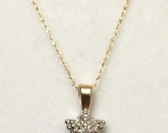 10K Yellow Gold Chain // 10K White Gold Diamond Cluster Pendant
