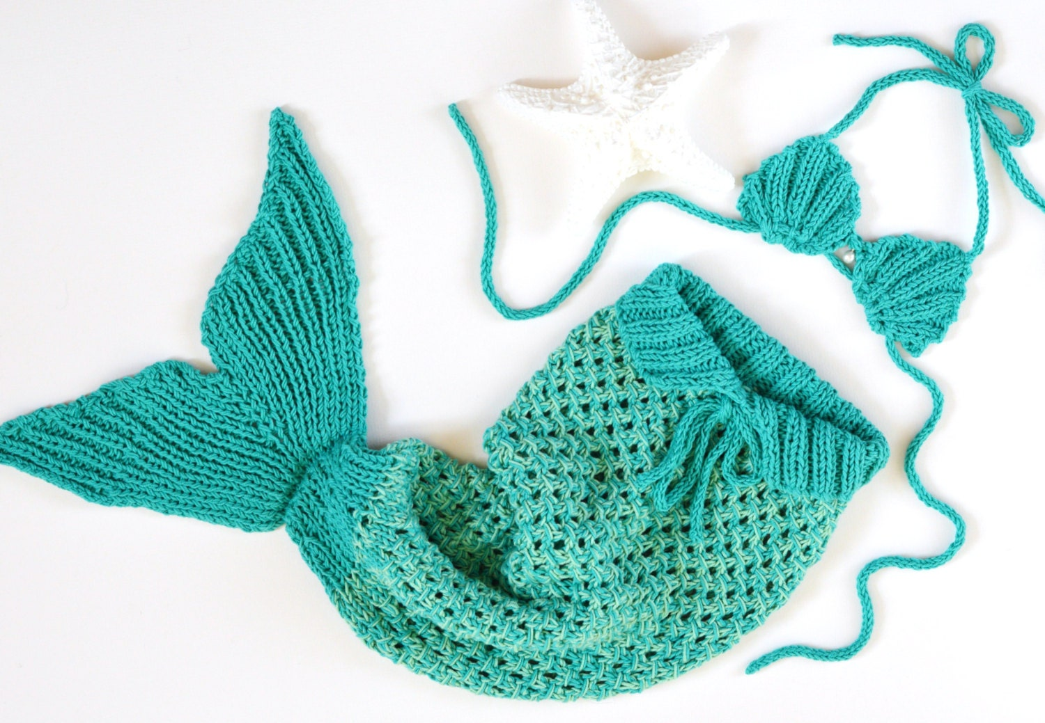 Knitting Pattern For Baby Mermaid Blanket : KNITTING PATTERN Baby Mermaid Tail Blanket 5 Sizes newborn-1