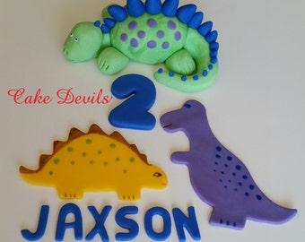 Dinosaur Cake kit, Birthday Cake Decorations, handmade edible fondant, Dinosaur Cake Topper, Dinosaur cupcakes, Dinosaur Birthday Party