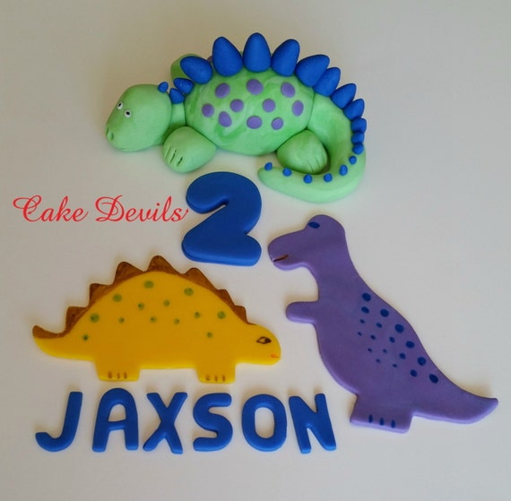 Dinosaur Cake kit, Birthday Cake Decorations, handmade edible fondant