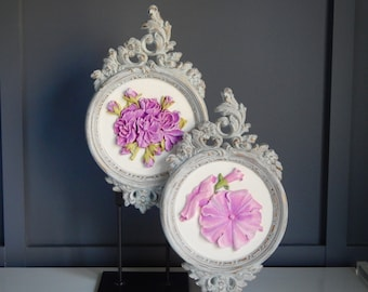 Pair of Shabby Chic Floral Wall Decor Plaques / Round / Filigree / Patina / Hand Painted / Refinished/ Sculptural Wall Hanging/ Floral Art