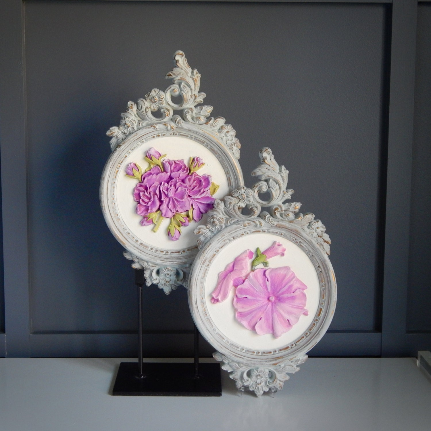 Wall Decor Shabby Chic : Pair of shabby chic floral wall decor by nashvillekindoflife