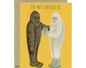 """Bigfoot & Yeti Birthday Card - """"To My Beastie"""" - ID: BIR005"""
