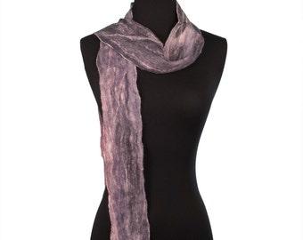 Grey Nuno Felted Wool Scarf, Merino wool and Silk Scarf,  Women's Fashion Scarf 75