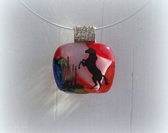 Horse fused glass pendant.