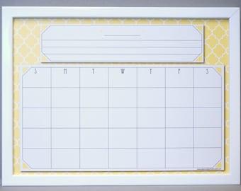 saffron yellow quatrefoil calendar dry erase board yellowwhite moroccan tile whiteboard wall calendar family organizer command center