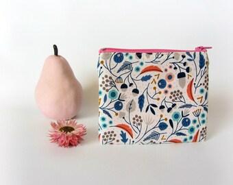 Cosmetic zipper pouch,girls coin purse, gadget bag, utility bag, organic cotton pouch